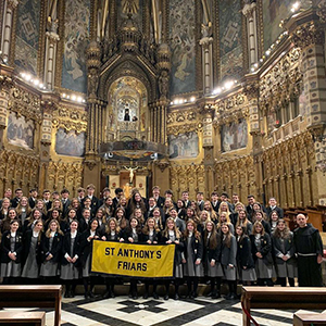 Saint Anthony's High School pupils inside a church.