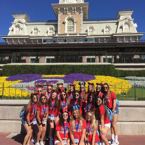 Saint John's High School cheerleading squad at Disneyland.